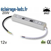 Transformateur Led 12v DC 20 Watts IP67 ref te12-20