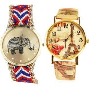 Neutron New Designer Elephant And Paris Eiffel Tower Analogue Multi Color Color Girls And Women Watch - G158-G256 (Combo Of 2 )