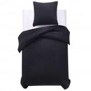 vidaXL Спално бельо от 2 части памучен сатен 140x220/60x70 см черно