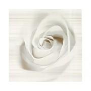 Set decor 2 bucati faianta Stripes, model floral, alb/gri lucios 50x25 cm