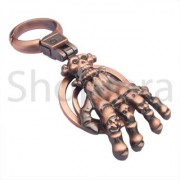 Vintage Zinc Alloy Skeleton Hand Metal Keychain Antique color Best Collectible Copper