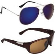Royalmede Aviator, Wrap-around Sunglasses(Blue, Brown)