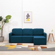 vidaXL 3-местен модулен диван легло, син, текстил