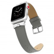 Rhinestone Decor Genuine Leather Watch Band for Apple Watch Series 5 4 40mm, Series 3 / 2 / 1 38mm - Grey