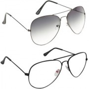 Magjons Fashion Combo Of Grey And Clear Lens Aviator Sunglasses