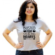 HEYUZE Quote Stealing Hearts Grey Printed Women Cotton T-Shirts
