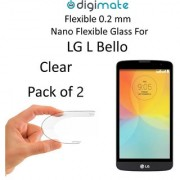 Digimate Nano Clear 0.2 mm Screen Guard Protector Flexible Glass for LG L Bello (Pack of 2)
