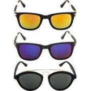 NuVew Oval, Wayfarer Sunglasses(Grey, Blue, Golden, Orange)