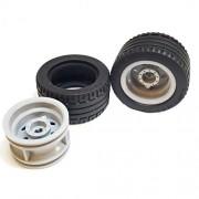 Parts/Elements - Tires Lego Parts: Racer Wheels Tire and Rim Bundle Black 43.2mm x 22mm ZR Tires Light Bluish Gray 30.4mm x 20mm Wheel Rims