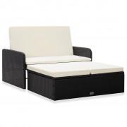 vidaXL Градински комплект с възглавници, 2 части, черен полиратан