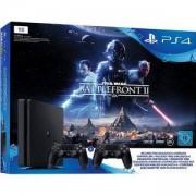 Конзола PlayStation 4 (1TB, black, Slim) включително Star Wars Battlefront II + 2 DualShock Controller