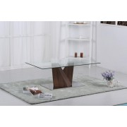 Glass Coffee Table With Walnut Base