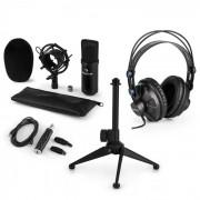 CM001S Set Microfono V1 - Microfono A Condensazione Cuffie Adattatore USB Nero