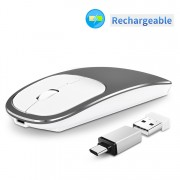 Aluminium Alloy Rechargeable 2.4G Wireless Optical Mouse with Type-C Adapter - Grey