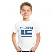 Bellatio Decorations T-shirt Griekse vlag wit kinderen S (122-128) - Feestshirts