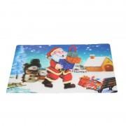 Merkloos Kerst 3D placemat met kerstman en cadeautjes 42 x 28 cm