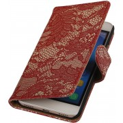Huawei Honor Y6 2015 / Honor 4A - Lace Rood Booktype Wallet Hoesje