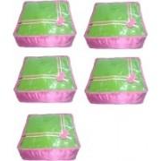 Addyz Plain 5saree Storage Cover Blouse Salwar Suit Shirt Jeans Case(Pink)