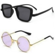 SO SHADES OF STYLE Rectangular, Round Sunglasses(Black, Violet)