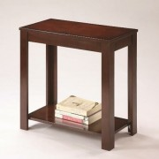 Pierce dark brown finish wood chair side end table with lower shelf