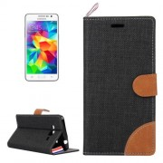 Denim Texture Horizontal Flip Leather Case with Card Slots & Holder & Lanyard for Samsung Galaxy Grand Prime / G530 / G5308W(Black)