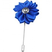 Sullery Men's Rhinestone Crystal Blue Flower Lapel Pin Boutonniere for Suit Blue Metal And Polyster Brooch