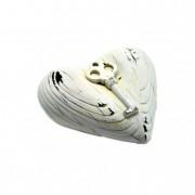 Szív kulccsal poly 10x4x9,5cm fehér
