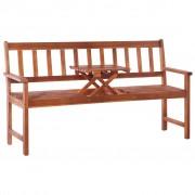 vidaXL Bancă de grădină 3 locuri & masă maro 158cm lemn masiv acacia