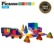 PicassoTiles 82 Piece Building Blocks 82pcs Creativity Kit 3D Building Construction Toy Set Clear Magnetic Stacking Block STEM Playboard Magnet Felt Tiles Novelty Game, Creativity Beyond Imagination