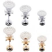 ELECTROPRIME 24cm Flower Shape Crystal Votive Tealight Candle Holder Wedding Decor Silver