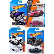 Hot Trucks Pickup Series Datsun 620 White & '67 Chevy C10 Purple/Silverado Black #159 wheels + Matchbox '02 Chevy Avalanche 4-Pack in Protective Cases