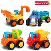 Ramadoo Unbreakable Automobile Car - Push And Go Friction Powered Car Toys Set for Kids - Tractor, Bulldozer, Cement Mixer, Truck, And Dumper(Set of 4)