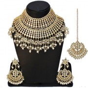 Lucky Jewellery Ethnic White Color Gold Plating Padmavat Jewelry Kundan Necklace Set For Girls Women