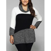 rosegal Plus Size Cowl Neck Heathered Blouse