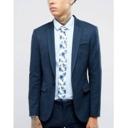 ASOS Slim Tie In Navy Floral - White