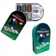 Set de poker 120 Chipuri marcate valoric Cutie Metalica