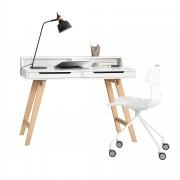 [en.casa]® Escritorio retro + silla blanco mesa de ordenador consola mesa de diseño