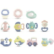 10pcs Baby Rattles Teether Grab Toys Shaking Bell Rattle Toy Gift Set for Baby Infant Newborn