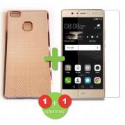 Силиконов (TPU) - кейс - розово - златист и бял за Huawei P9 Lite + Стъклен протектор (комплект)
