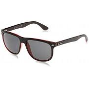 Ray-Ban RB4147 Boyfriend anteojos de sol cuadradas polarizadas, color negro mate sobre rojo transparente/gris, 56 mm