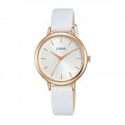 Lorus Montre-bracelet Lorus RG246NX-8 White Leather Strap Quartz/Acier inoxydable/Or Rose