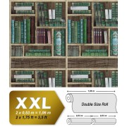 Grafisch behang EDEM 81155BR28 vliesbehang hardvinyl warmdruk in reliëf gestempeld met boeken mat bruin smaragdgroen wijnrood grijsblauw 10,65 m2