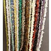 "eshoppee 35"" string natural stone Chips Cabochon Gemstone Gems Loose Beads Strand mala necklace set of 14 stones tiger eye"" lapis lazuli, carnelian, black, white ranbow, moon stone, amethyst, smoky quartz, green jade, rose quartz, crystal, citrine, perido"