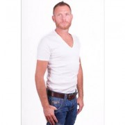 Garage T-Shirt Deep V-Neck Semi bodyfit White ( art 0304)