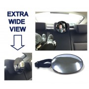 Oglinda interioara suplimentara pentru supraveghere copil cu fixare la tetiera, diametru 17cm Kft Auto