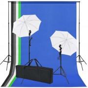 vidaXL Kit de studio photo 5 toiles de fond colorées et 2 ombrelles