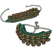 De-Ultimate 1 Pair Of Green Musical Kathak Bharatanatyam 3 Line Dancing 60 Bells Handmade Classical Odissi Ghungroo