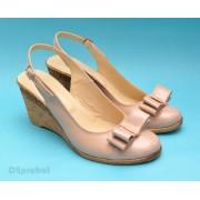 Sandale dama bej piele naturala cu funda cod S39 - LICHIDARE STOC 39, 40