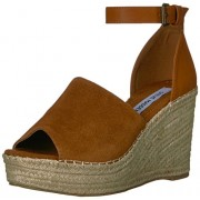 Steve Madden Women's Marina Wedge Sandal, Cognac Suede, 8. 5 Medium US