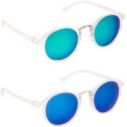 Sunglasses Pack Of 2 Combo Mirror Green And Blue Clear Frame Round Unisex